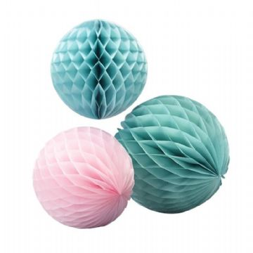 Mint Green & Pastel Pink Honeycomb Balls - pack of 3